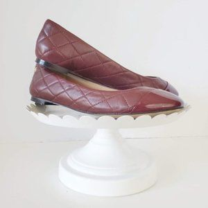 Ann Taylor Quilted Leather Ballet Flat Wine Red